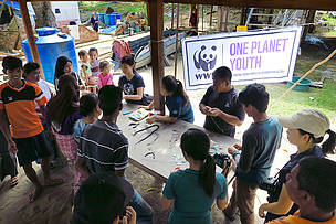 Youth leaders conducted a sea glass workshop with local villagers.
