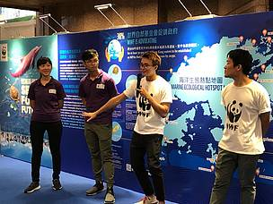Youth leaders and One Planet Youth Ambassador Chris Leung shared their experience of the trip in the Sea for Future exhibition.