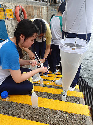 Students using plankton net to carry out ecological surveys.  	© WWF-Hong Kong