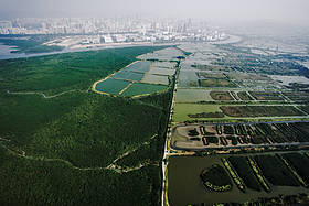 Aerial view of the Mai Po Nature Reserve Centre  	© Martin Harvey