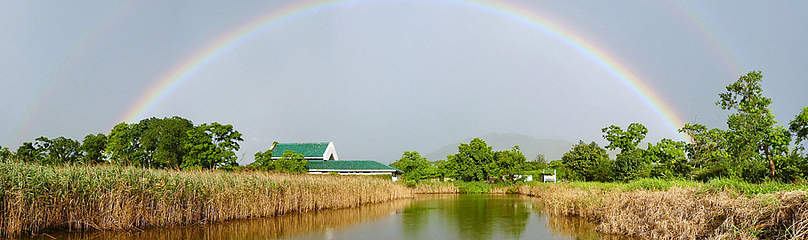 Rainbow over Mai Po Education centre  	© Bena Smith / WWF-Hong Kong